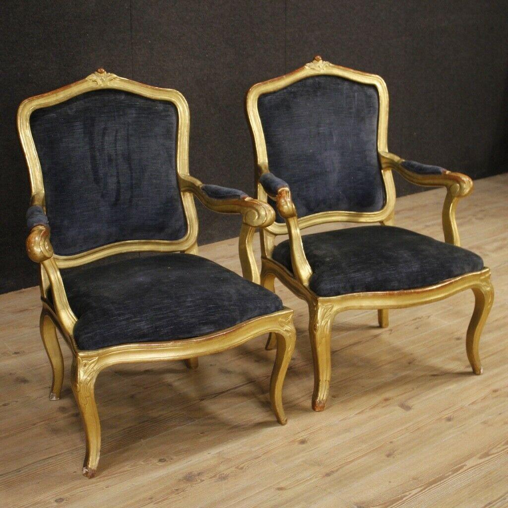 Beau Armchairs Chairs Furniture Pair Italian Antique Gilt Wood ...