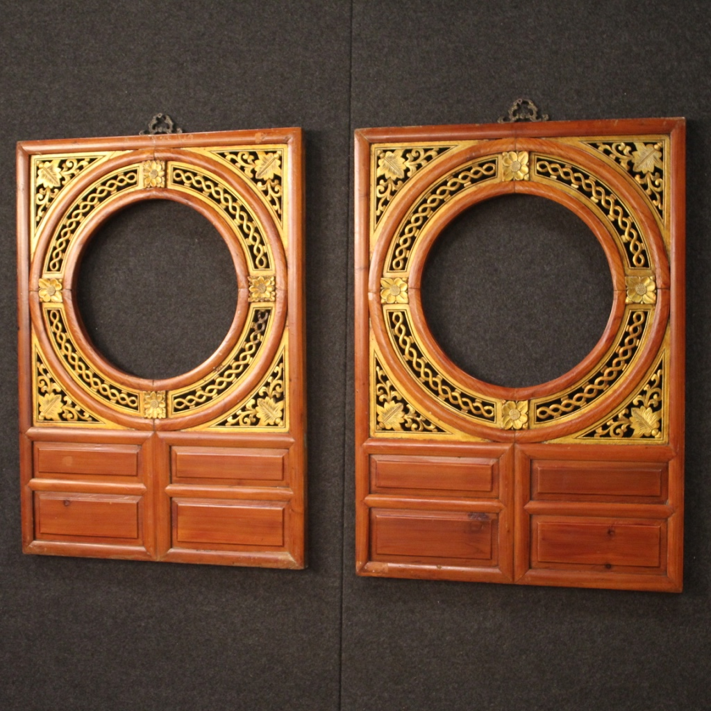 Lampadari Cinesi On Line details about pair of frames panels oriental chinese wooden golden antique  style 900