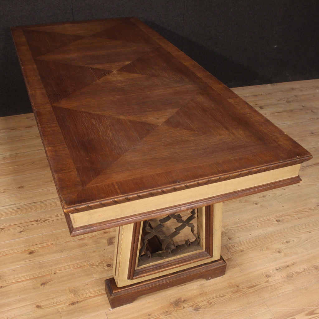 Tavolo-da-pranzo-mobile-da-salotto-stile-antico-in-legno-dipinto-vintage-900 miniatura 7