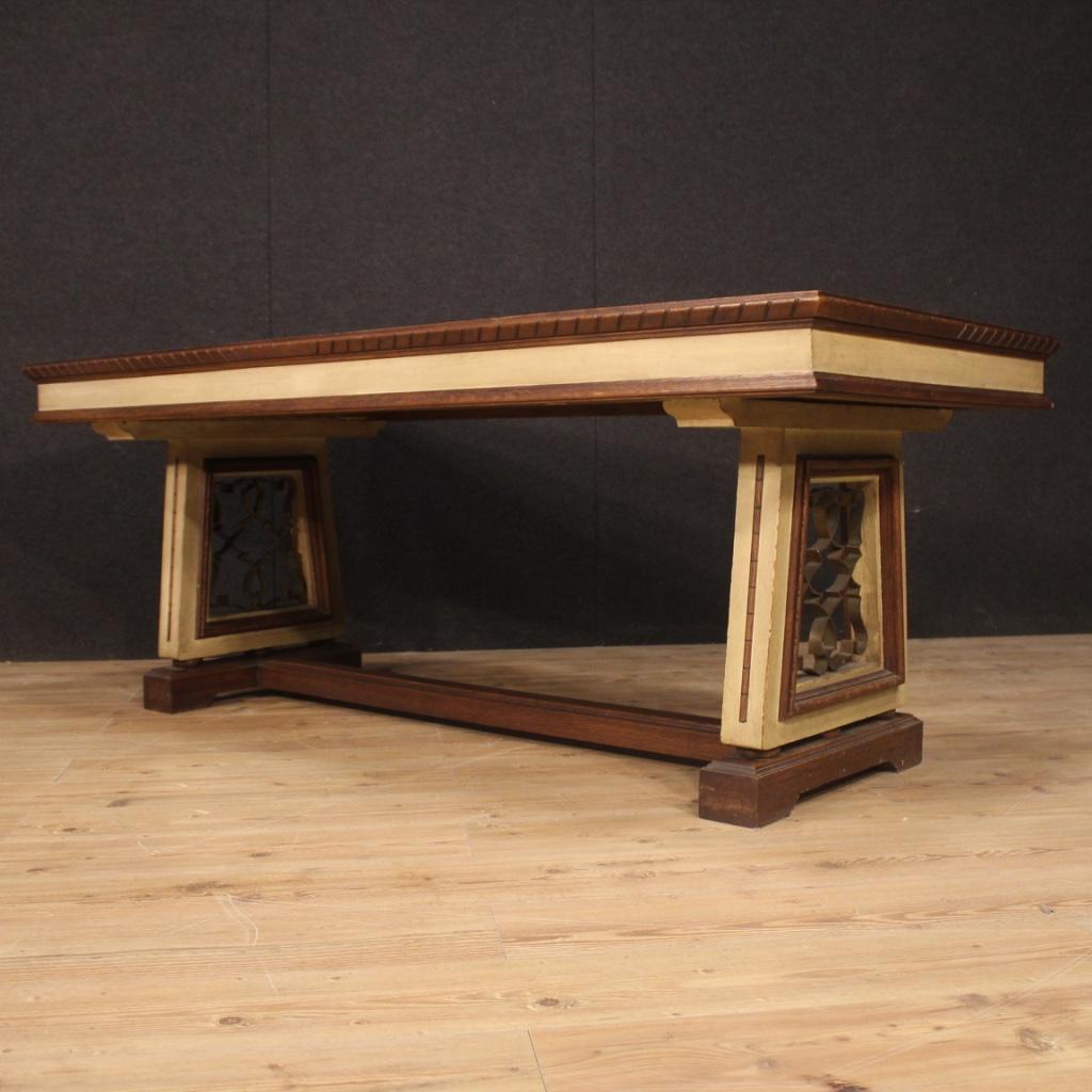 Tavolo-da-pranzo-mobile-da-salotto-stile-antico-in-legno-dipinto-vintage-900 miniatura 12